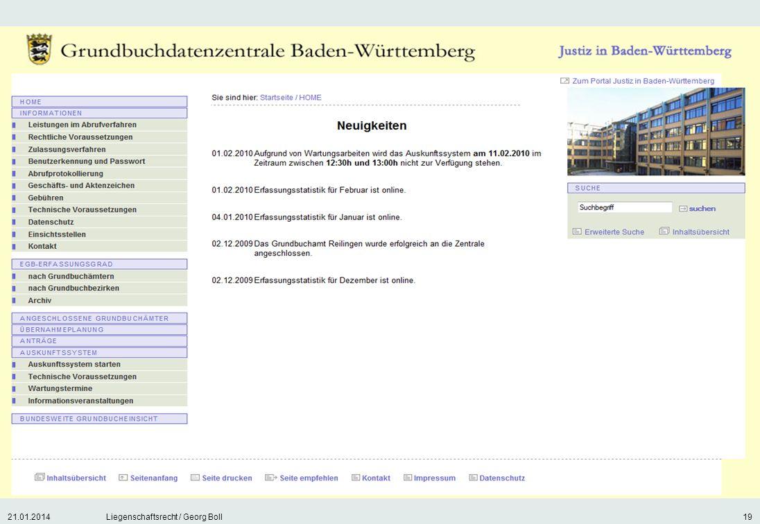 21.01.2014Liegenschaftsrecht / Georg Boll19