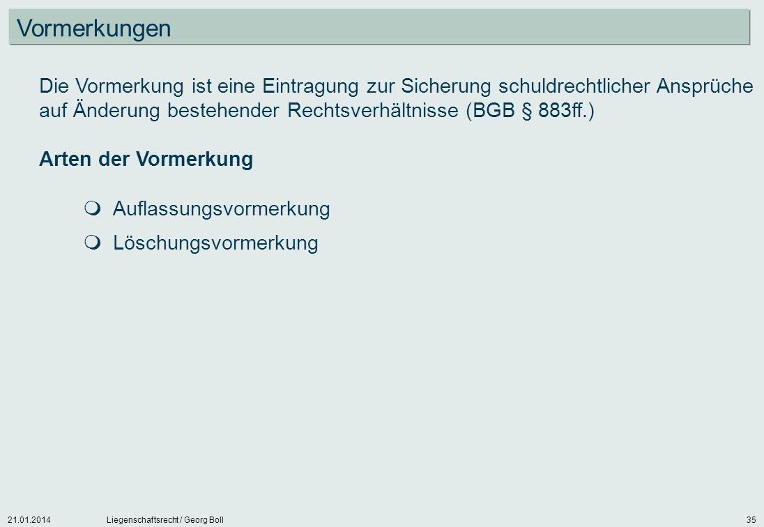 21.01.2014Liegenschaftsrecht / Georg Boll35 Die Vormerkung ist eine Eintragung zur Sicherung schuldrechtlicher Ansprüche auf Änderung bestehender Rech