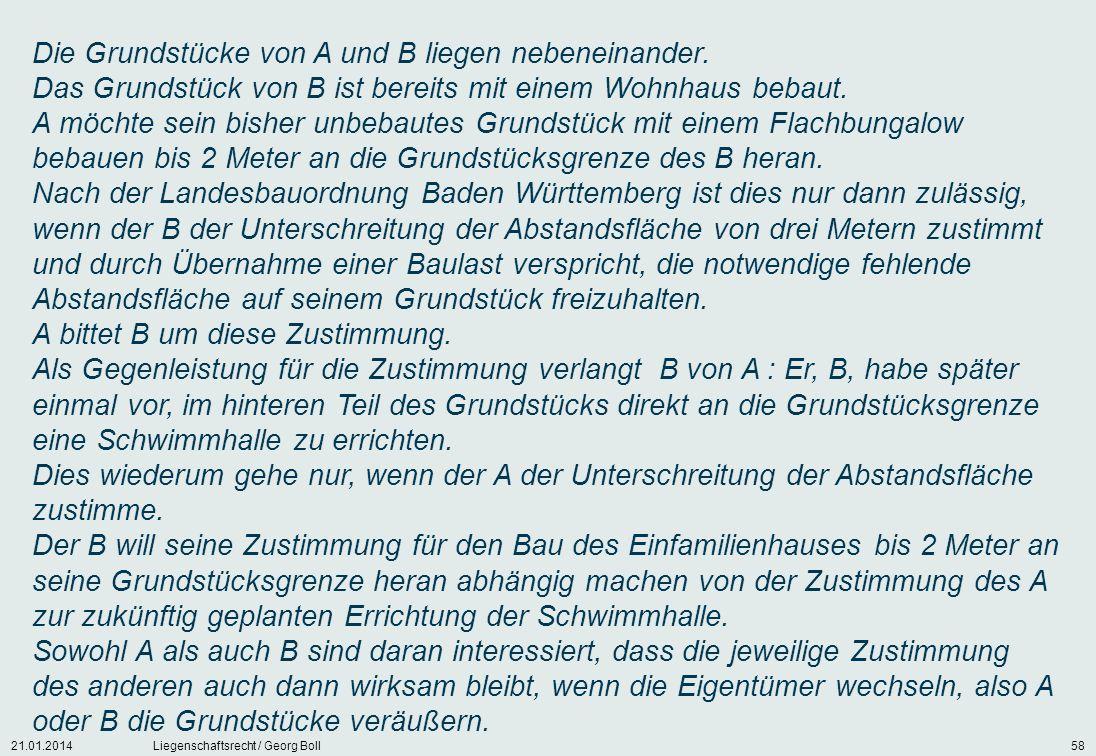 21.01.2014Liegenschaftsrecht / Georg Boll58 Die Grundstücke von A und B liegen nebeneinander. Das Grundstück von B ist bereits mit einem Wohnhaus beba