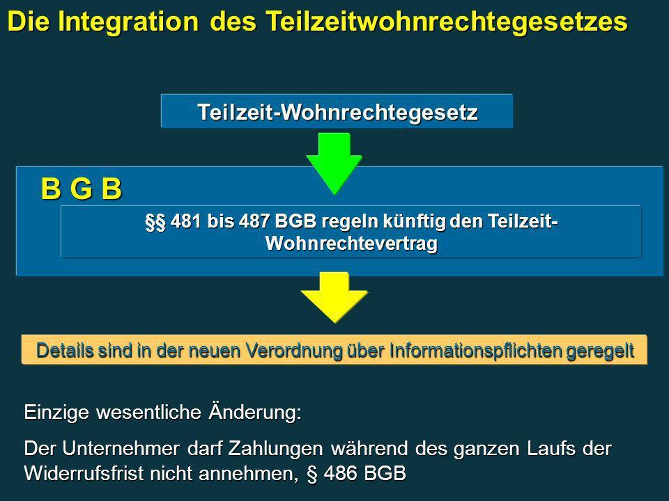 B G B B G B §§ 481 bis 487 BGB regeln künftig den Teilzeit- Wohnrechtevertrag Teilzeit-Wohnrechtegesetz Details sind in der neuen Verordnung über Info