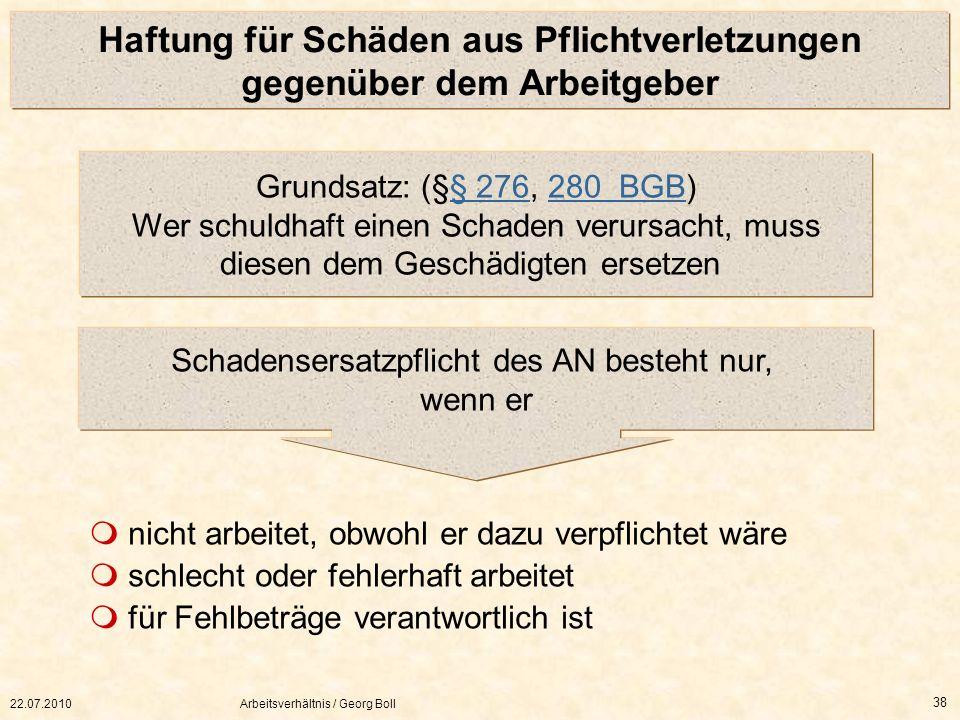 22.07.2010Arbeitsverhältnis / Georg Boll 38 Haftung für Schäden aus Pflichtverletzungen gegenüber dem Arbeitgeber Grundsatz: (§§ 276, 280 BGB) Wer sch