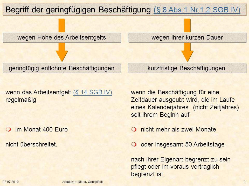 22.07.2010Arbeitsverhältnis / Georg Boll 4 geringfügig entlohnte Beschäftigungenkurzfristige Beschäftigungen. wegen Höhe des Arbeitsentgeltswegen ihre