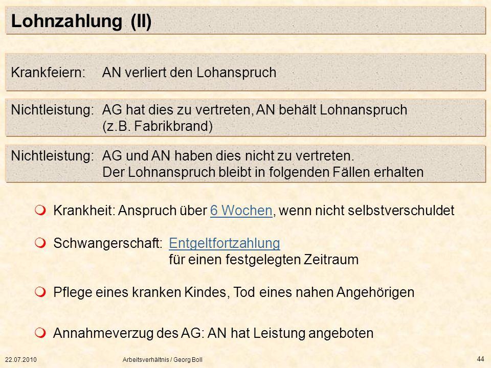 22.07.2010Arbeitsverhältnis / Georg Boll 44 Lohnzahlung (II) Krankfeiern: AN verliert den Lohanspruch Nichtleistung:AG hat dies zu vertreten, AN behäl