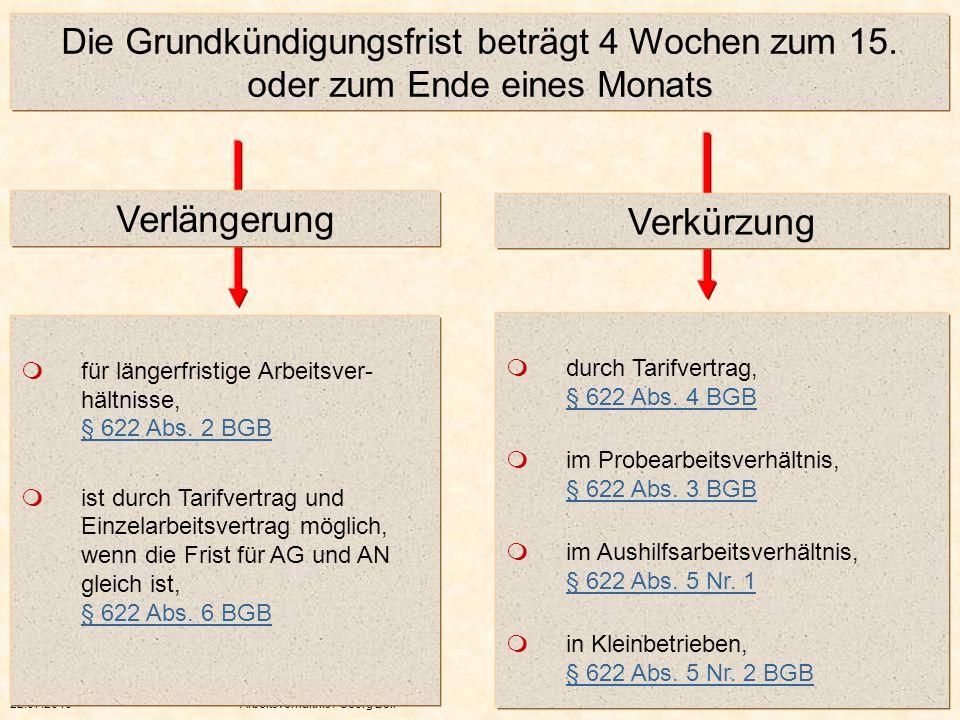 22.07.2010Arbeitsverhältnis / Georg Boll 52 Die Grundkündigungsfrist beträgt 4 Wochen zum 15. oder zum Ende eines Monats für längerfristige Arbeitsver