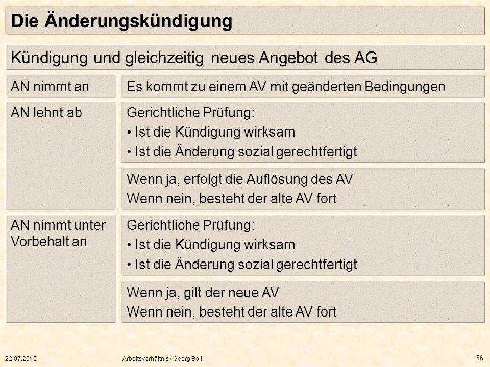 22.07.2010Arbeitsverhältnis / Georg Boll 86 Die Änderungskündigung Wenn ja, gilt der neue AV Wenn nein, besteht der alte AV fort Gerichtliche Prüfung: