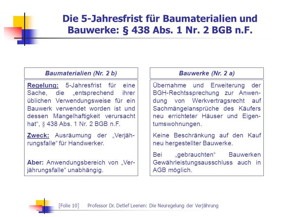 [Folie 10]Professor Dr. Detlef Leenen: Die Neuregelung der Verjährung Regelung: 5-Jahresfrist für eine Sache, die entsprechend ihrer üblichen Verwendu