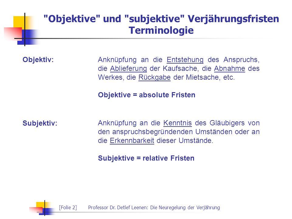 [Folie 2]Professor Dr. Detlef Leenen: Die Neuregelung der Verjährung