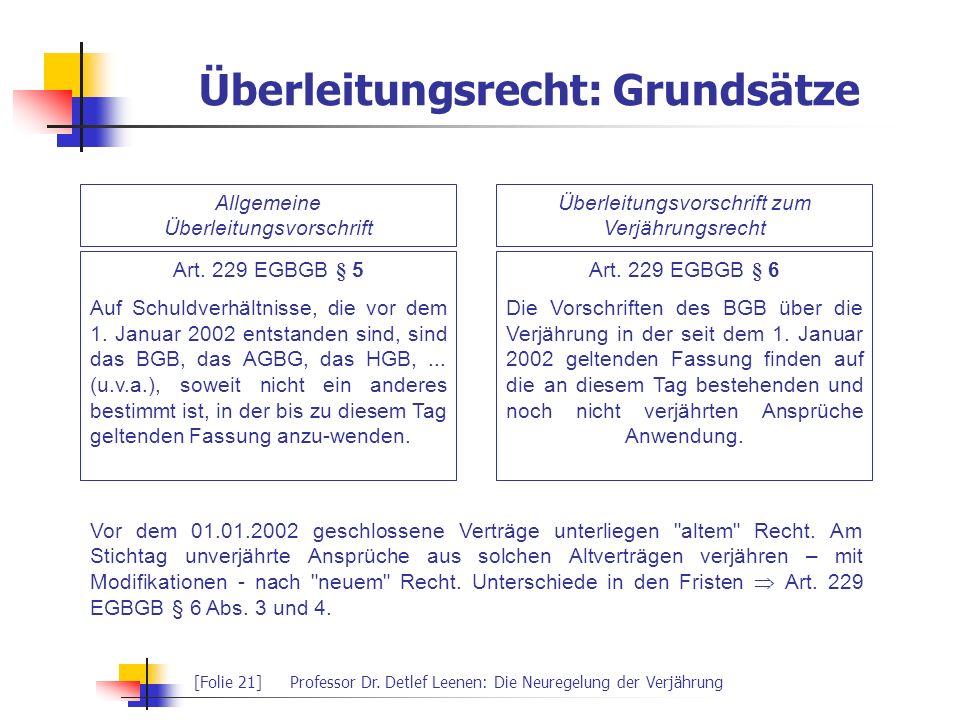 [Folie 21]Professor Dr. Detlef Leenen: Die Neuregelung der Verjährung Überleitungsrecht: Grundsätze Allgemeine Überleitungsvorschrift Überleitungsvors