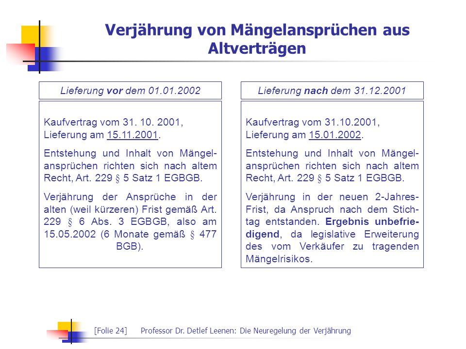 [Folie 24]Professor Dr. Detlef Leenen: Die Neuregelung der Verjährung Verjährung von Mängelansprüchen aus Altverträgen Lieferung vor dem 01.01.2002Lie