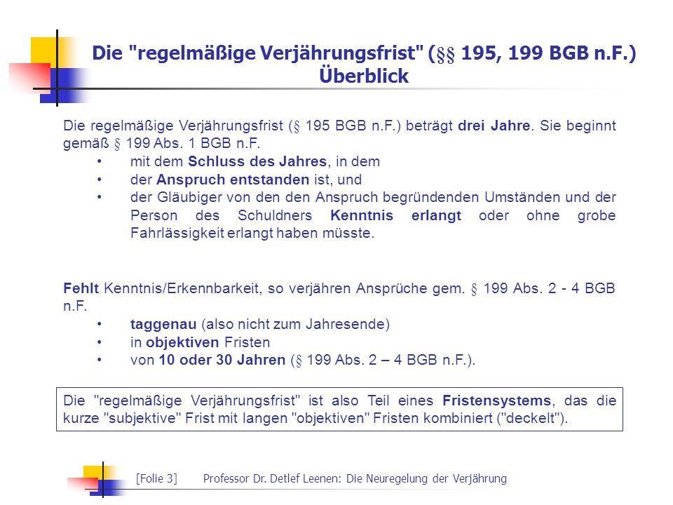 [Folie 3]Professor Dr. Detlef Leenen: Die Neuregelung der Verjährung Die