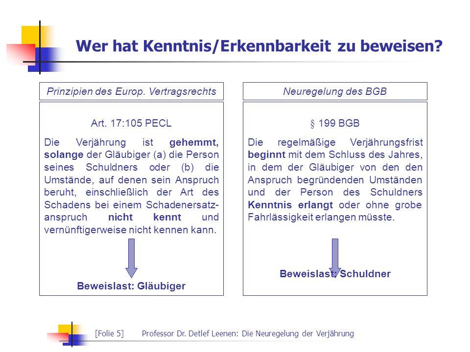 [Folie 5]Professor Dr. Detlef Leenen: Die Neuregelung der Verjährung Wer hat Kenntnis/Erkennbarkeit zu beweisen? Prinzipien des Europ. VertragsrechtsN