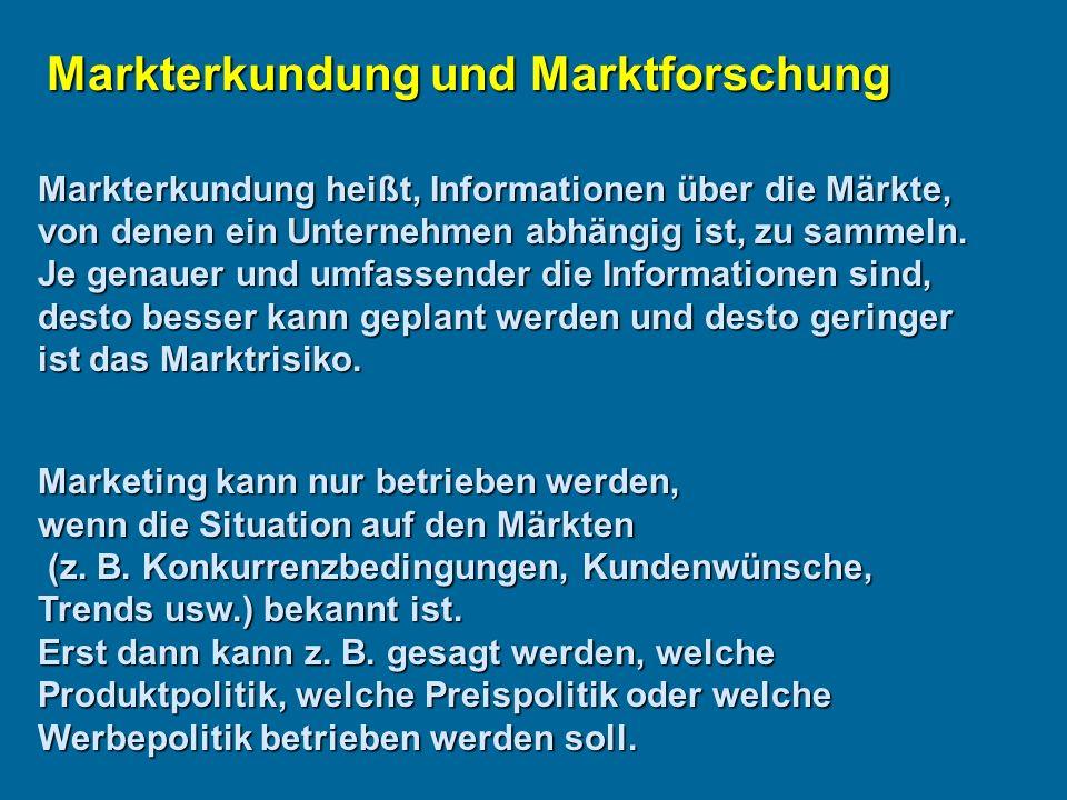 Markterkundung heißt, Informationen über die Märkte, von denen ein Unternehmen abhängig ist, zu sammeln.
