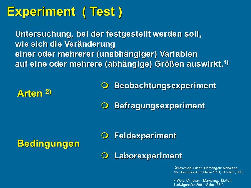Experiment ( Test ) Untersuchung, bei der festgestellt werden soll, wie sich die Veränderung einer oder mehrerer (unabhängiger) Variablen auf eine oder mehrere (abhängige) Größen auswirkt.