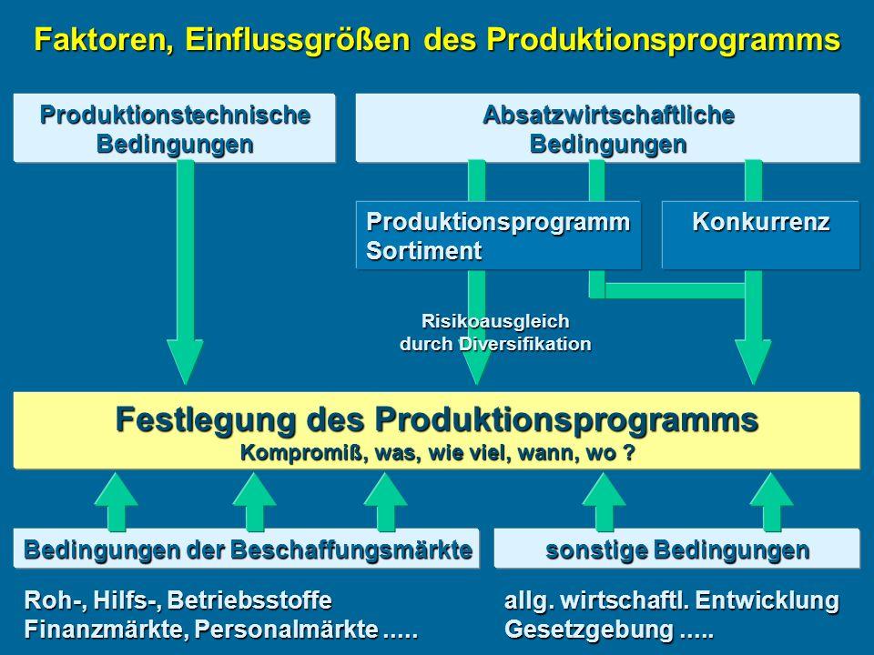 AbsatzwirtschaftlicheBedingungen Faktoren, Einflussgrößen des Produktionsprogramms ProduktionstechnischeBedingungen ProduktionsprogrammSortiment Risikoausgleich durch Diversifikation Festlegung des Produktionsprogramms Kompromiß, was, wie viel, wann, wo .