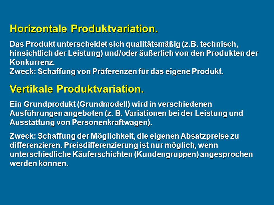 Horizontale Produktvariation.Das Produkt unterscheidet sich qualitätsmäßig (z.B.