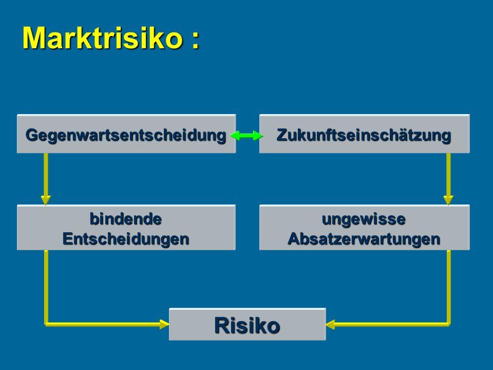 Marktrisiko : bindendeEntscheidungenungewisseAbsatzerwartungen Risiko GegenwartsentscheidungZukunftseinschätzung