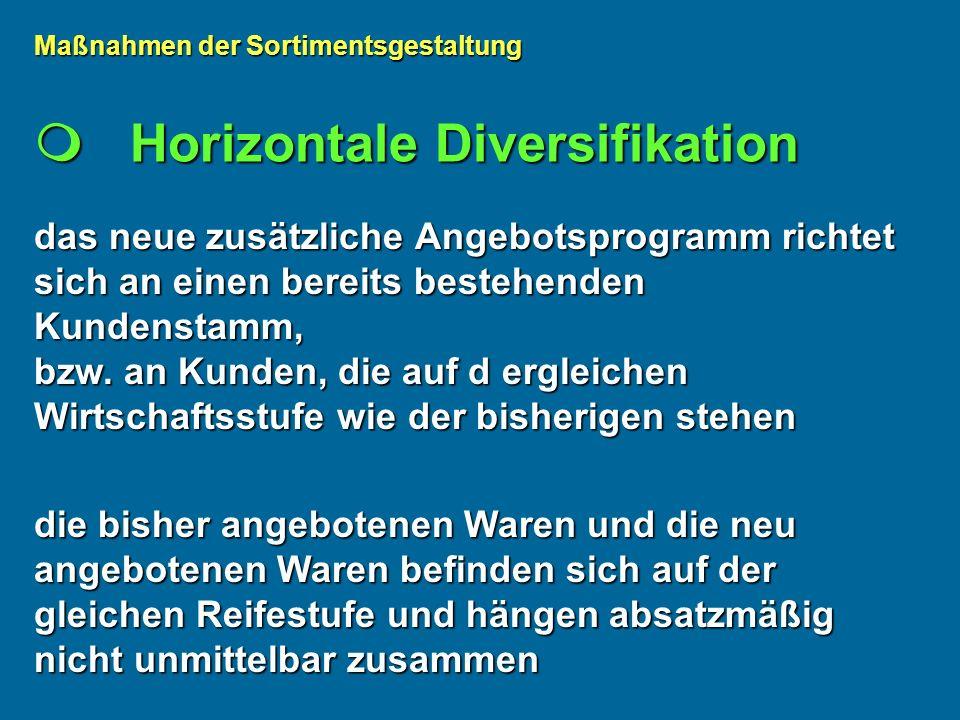 Horizontale Diversifikation Horizontale Diversifikation das neue zusätzliche Angebotsprogramm richtet sich an einen bereits bestehenden Kundenstamm, bzw.