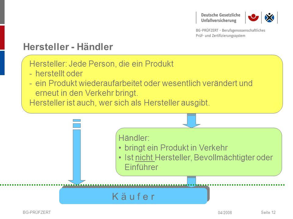 04/2008 BG-PRÜFZERTSeite 12 Hersteller - Händler Hersteller: Jede Person, die ein Produkt -herstellt oder -ein Produkt wiederaufarbeitet oder wesentli