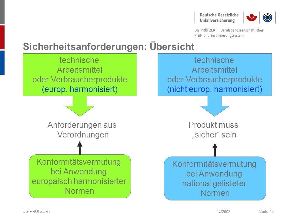 04/2008 BG-PRÜFZERTSeite 13 Sicherheitsanforderungen: Übersicht technische Arbeitsmittel oder Verbraucherprodukte (europ. harmonisiert) technische Arb