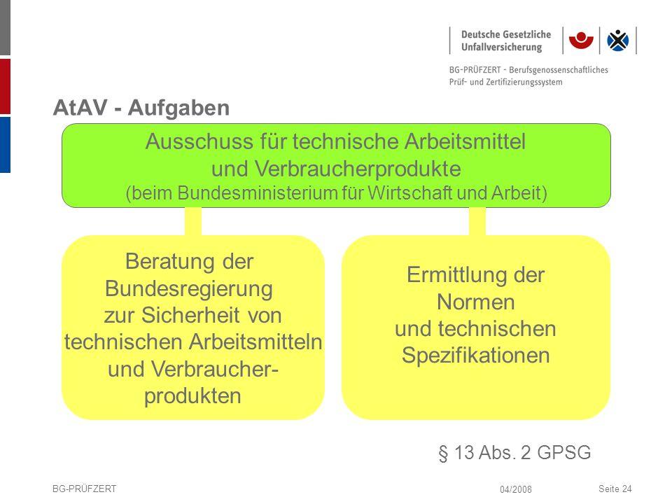 04/2008 BG-PRÜFZERTSeite 24 AtAV - Aufgaben § 13 Abs. 2 GPSG Ausschuss für technische Arbeitsmittel und Verbraucherprodukte (beim Bundesministerium fü