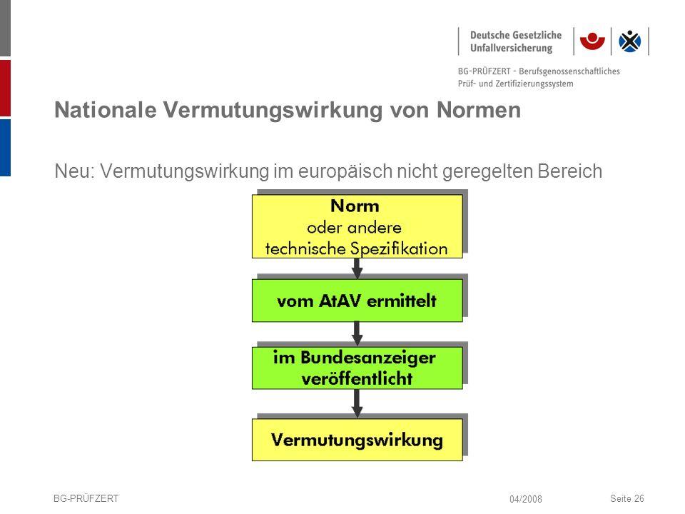 04/2008 BG-PRÜFZERTSeite 26 Nationale Vermutungswirkung von Normen Neu: Vermutungswirkung im europäisch nicht geregelten Bereich