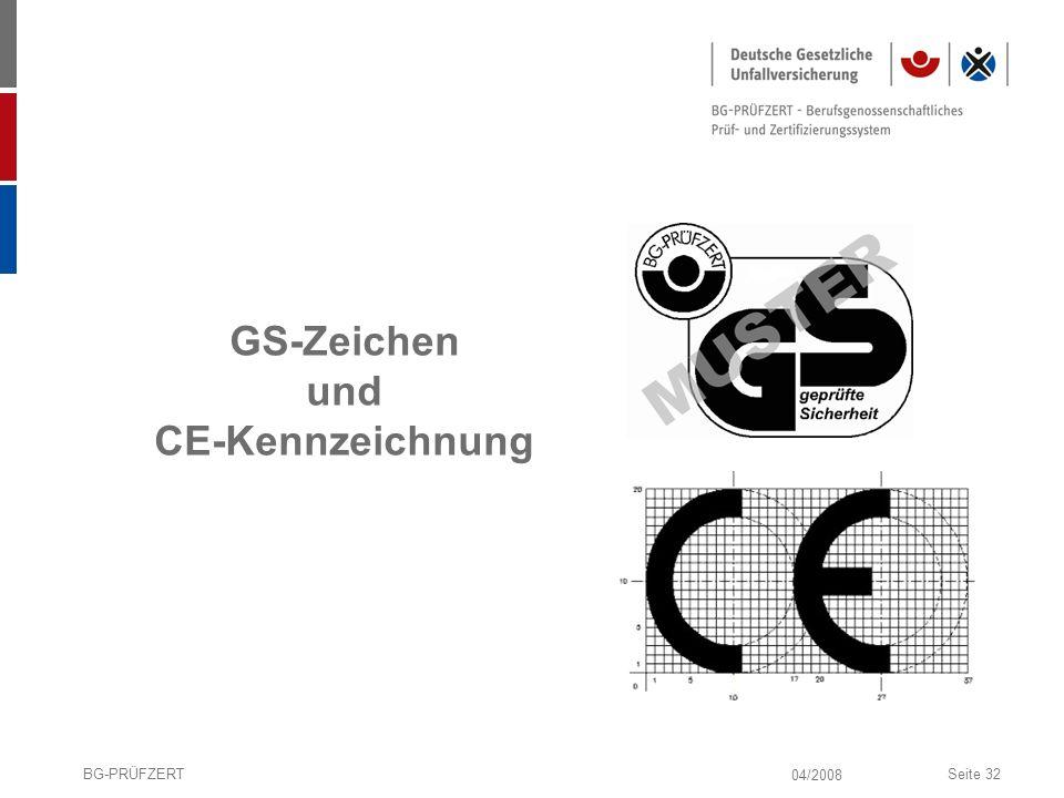 04/2008 BG-PRÜFZERTSeite 32 GS-Zeichen und CE-Kennzeichnung