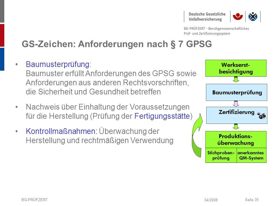 04/2008 BG-PRÜFZERTSeite 35 GS-Zeichen: Anforderungen nach § 7 GPSG Baumusterprüfung: Baumuster erfüllt Anforderungen des GPSG sowie Anforderungen aus