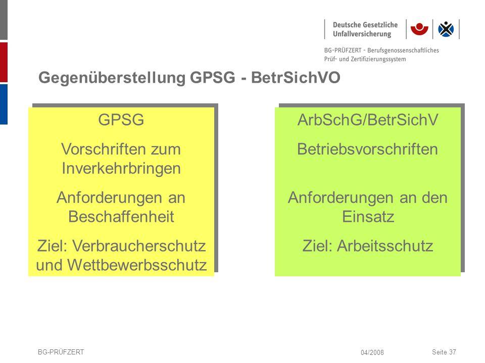 04/2008 BG-PRÜFZERTSeite 37 Gegenüberstellung GPSG - BetrSichVO GPSG Vorschriften zum Inverkehrbringen Anforderungen an Beschaffenheit Ziel: Verbrauch