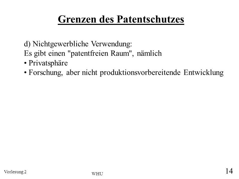 Vorlesung 2 14 WHU Grenzen des Patentschutzes d) Nichtgewerbliche Verwendung: Es gibt einen