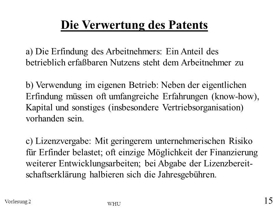 Vorlesung 2 15 WHU Die Verwertung des Patents a) Die Erfindung des Arbeitnehmers: Ein Anteil des betrieblich erfaßbaren Nutzens steht dem Arbeitnehmer