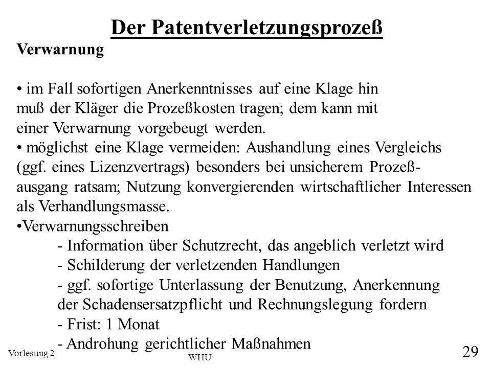 Vorlesung 2 29 WHU Der Patentverletzungsprozeß Verwarnung im Fall sofortigen Anerkenntnisses auf eine Klage hin muß der Kläger die Prozeßkosten tragen
