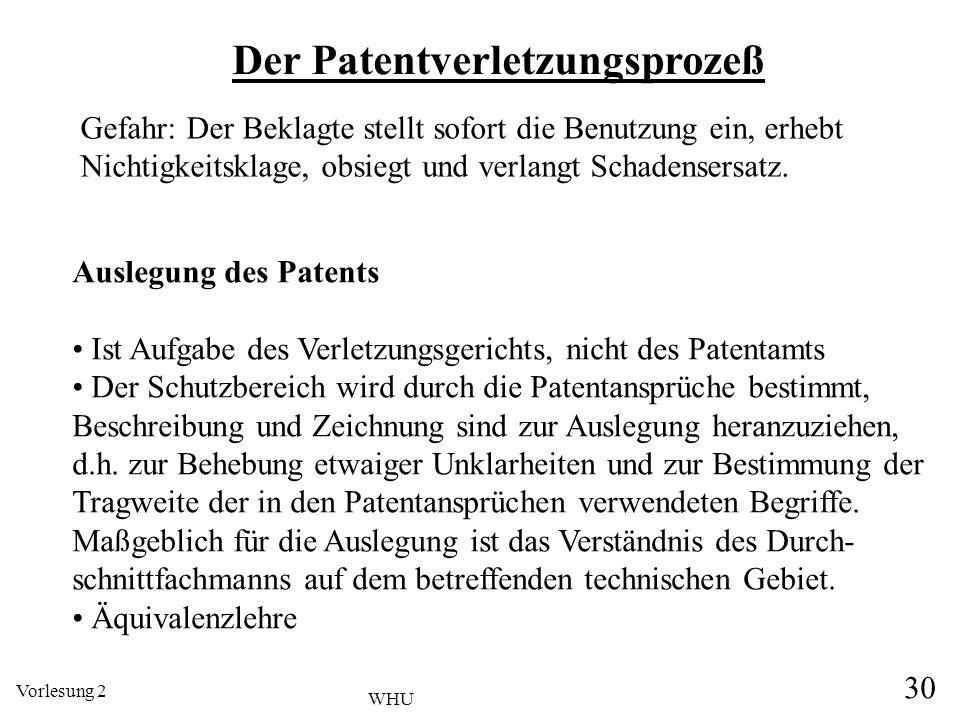 Vorlesung 2 30 WHU Der Patentverletzungsprozeß Auslegung des Patents Ist Aufgabe des Verletzungsgerichts, nicht des Patentamts Der Schutzbereich wird