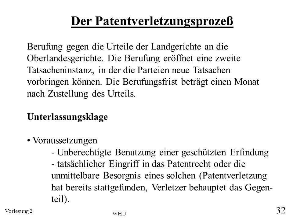 Vorlesung 2 32 WHU Der Patentverletzungsprozeß Berufung gegen die Urteile der Landgerichte an die Oberlandesgerichte. Die Berufung eröffnet eine zweit