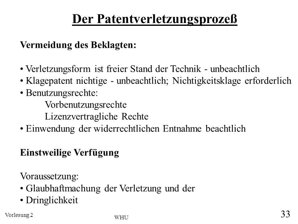 Vorlesung 2 33 WHU Der Patentverletzungsprozeß Vermeidung des Beklagten: Verletzungsform ist freier Stand der Technik - unbeachtlich Klagepatent nicht