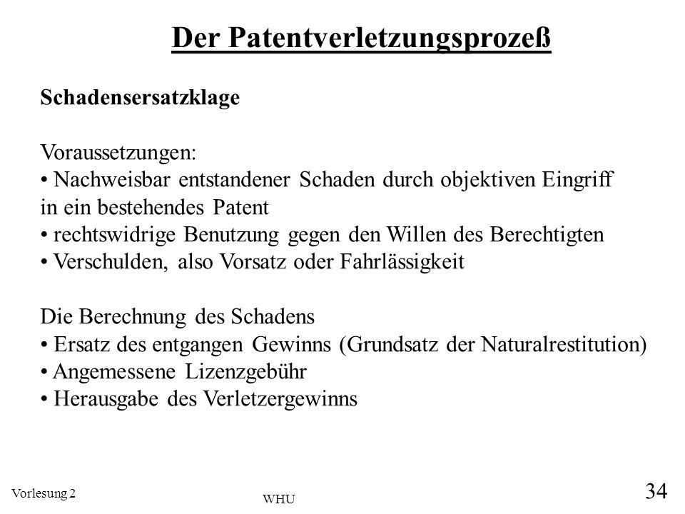 Vorlesung 2 34 WHU Der Patentverletzungsprozeß Schadensersatzklage Voraussetzungen: Nachweisbar entstandener Schaden durch objektiven Eingriff in ein