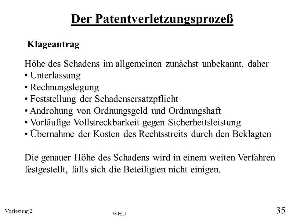 Vorlesung 2 35 WHU Der Patentverletzungsprozeß Klageantrag Höhe des Schadens im allgemeinen zunächst unbekannt, daher Unterlassung Rechnungslegung Fes
