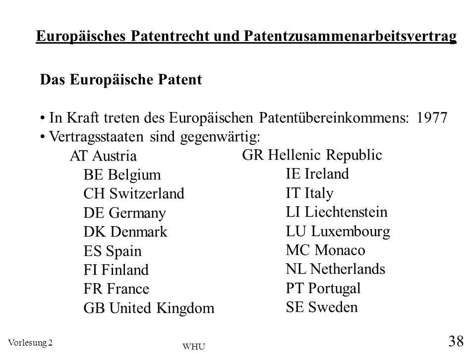 Vorlesung 2 38 WHU Europäisches Patentrecht und Patentzusammenarbeitsvertrag Das Europäische Patent In Kraft treten des Europäischen Patentübereinkomm