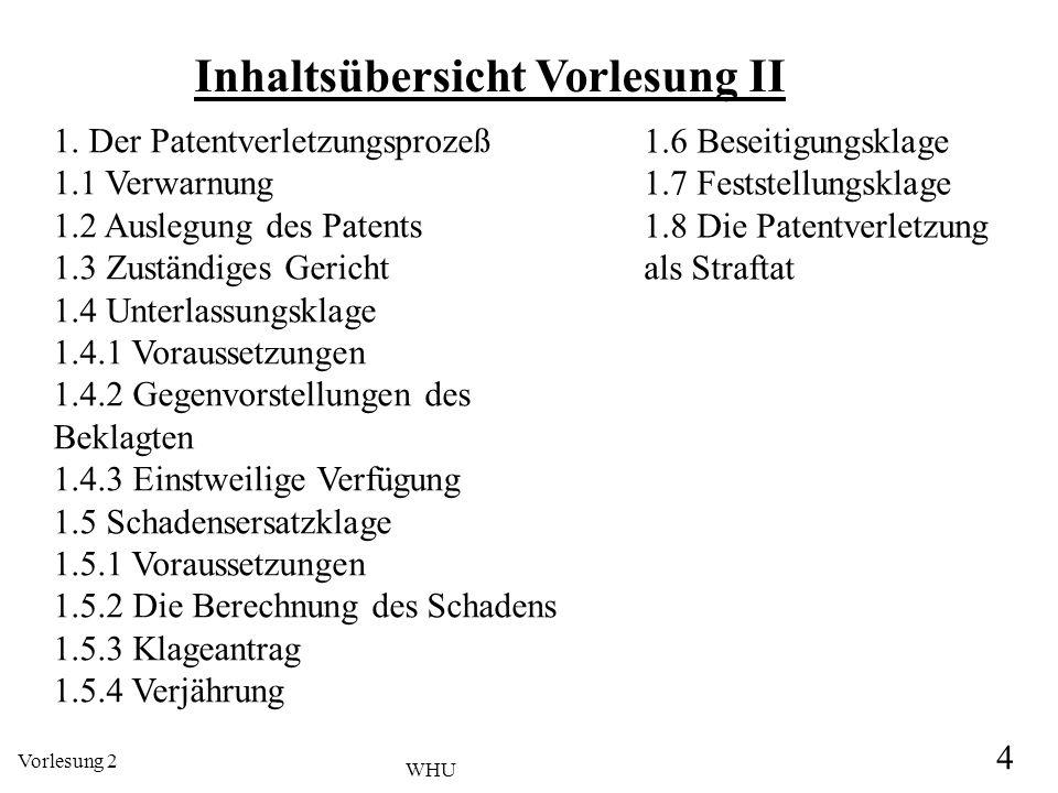 Vorlesung 2 4 WHU Inhaltsübersicht Vorlesung II 1. Der Patentverletzungsprozeß 1.1 Verwarnung 1.2 Auslegung des Patents 1.3 Zuständiges Gericht 1.4 Un