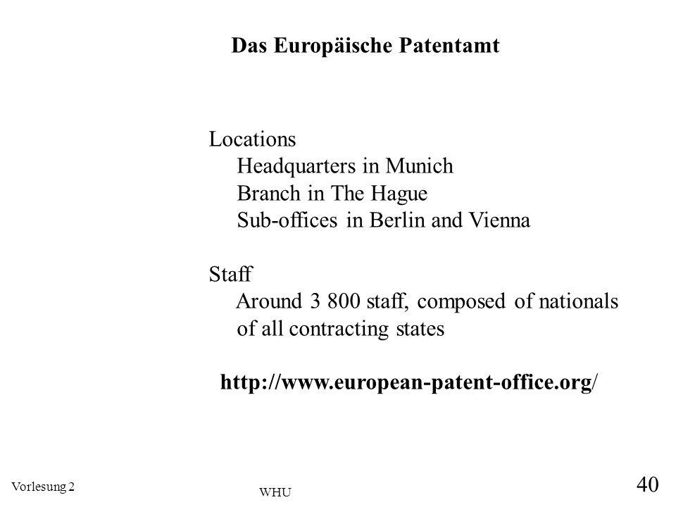 Vorlesung 2 40 WHU Das Europäische Patentamt Locations Headquarters in Munich Branch in The Hague Sub-offices in Berlin and Vienna Staff Around 3 800