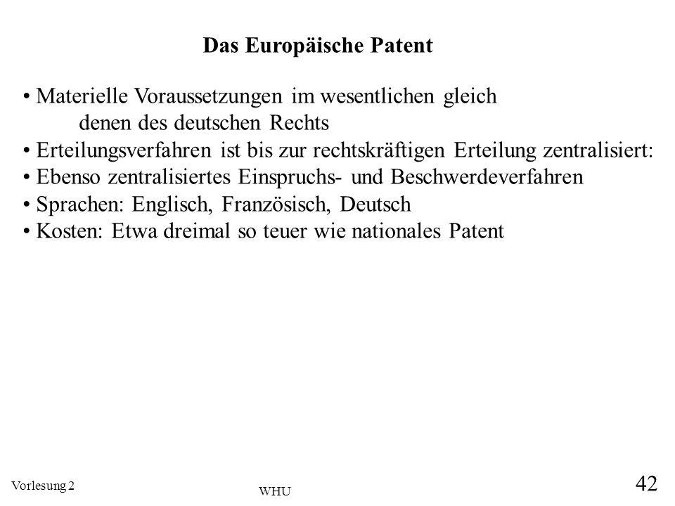 Vorlesung 2 42 WHU Das Europäische Patent Materielle Voraussetzungen im wesentlichen gleich denen des deutschen Rechts Erteilungsverfahren ist bis zur