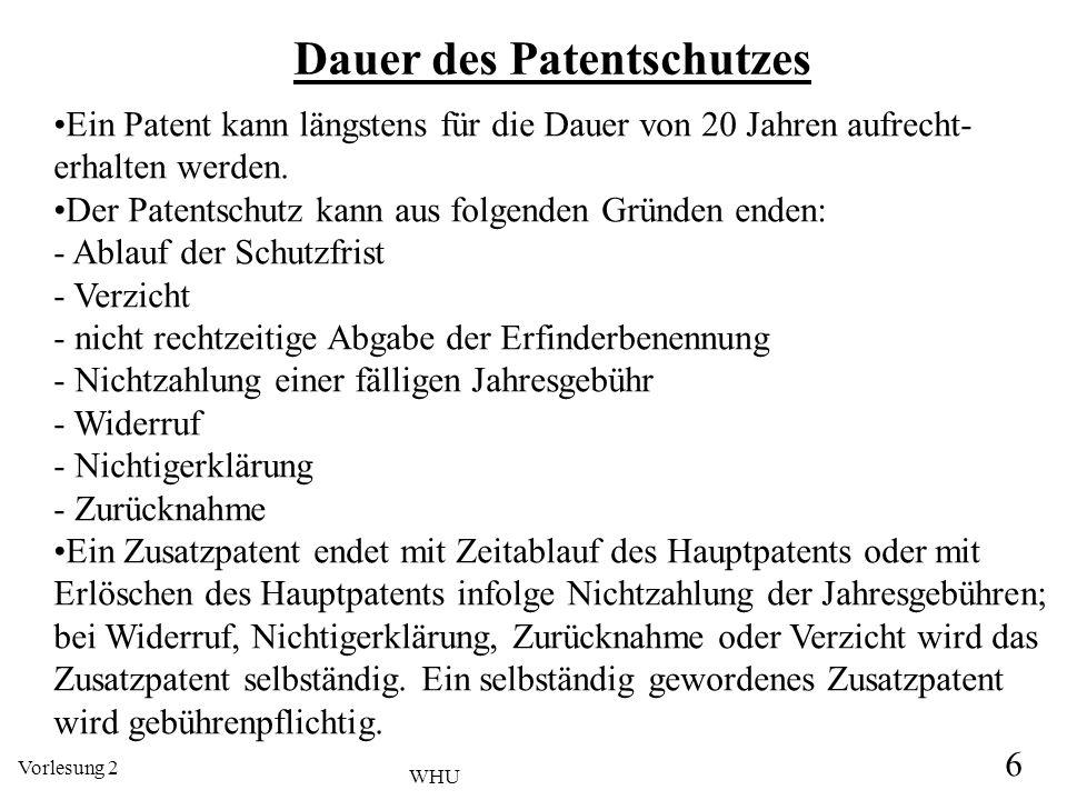 Vorlesung 2 6 WHU Dauer des Patentschutzes Ein Patent kann längstens für die Dauer von 20 Jahren aufrecht- erhalten werden. Der Patentschutz kann aus