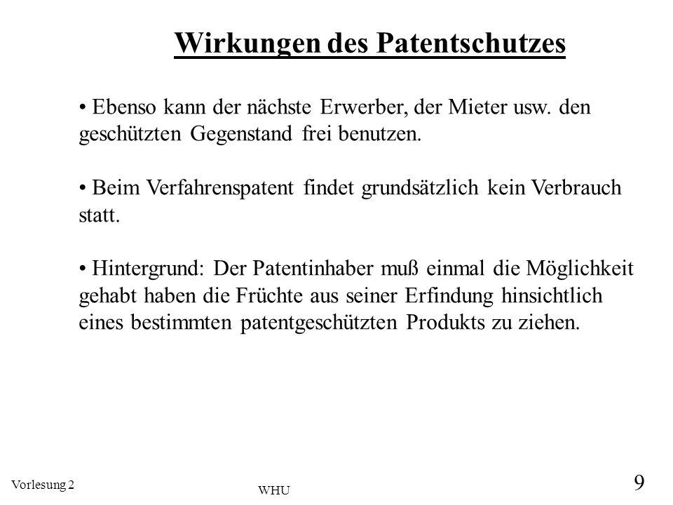 Vorlesung 2 9 WHU Wirkungen des Patentschutzes Ebenso kann der nächste Erwerber, der Mieter usw. den geschützten Gegenstand frei benutzen. Beim Verfah