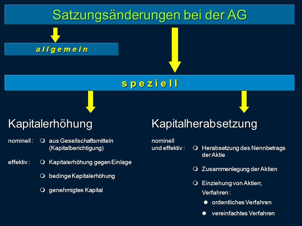 Satzungsänderungen bei der AG a l l g e m e i n Kapitalerhöhung nominell : aus Gesellschaftsmitteln (Kapitalberichtigung) effektiv : Kapitalerhöhung g