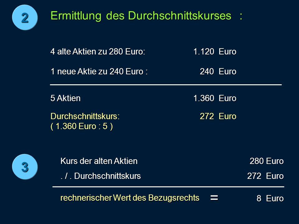 Ermittlung des Durchschnittskurses : 4 alte Aktien zu 280 Euro: 1.120 Euro 1 neue Aktie zu 240 Euro : 240 Euro 240 Euro 5 Aktien 1.360 Euro Durchschnittskurs: ( 1.360 Euro : 5 ) 272 Euro rechnerischer Wert des Bezugsrechts 2 = 3 Kurs der alten Aktien.