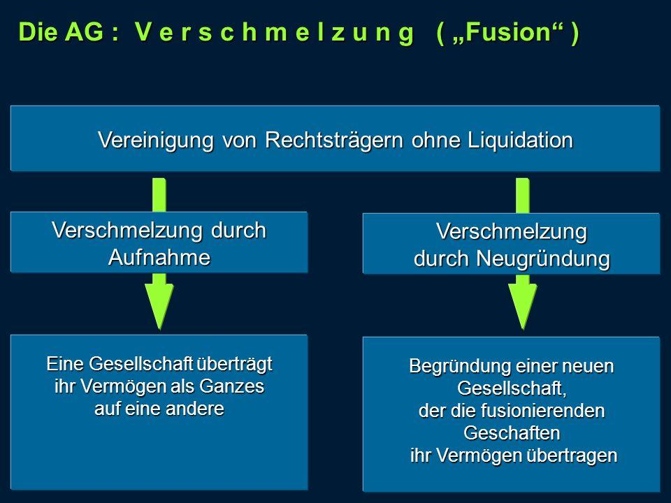 Die AG : V e r s c h m e l z u n g ( Fusion ) Begründung einer neuen Gesellschaft, der die fusionierenden Geschaften ihr Vermögen übertragen ihr Vermö
