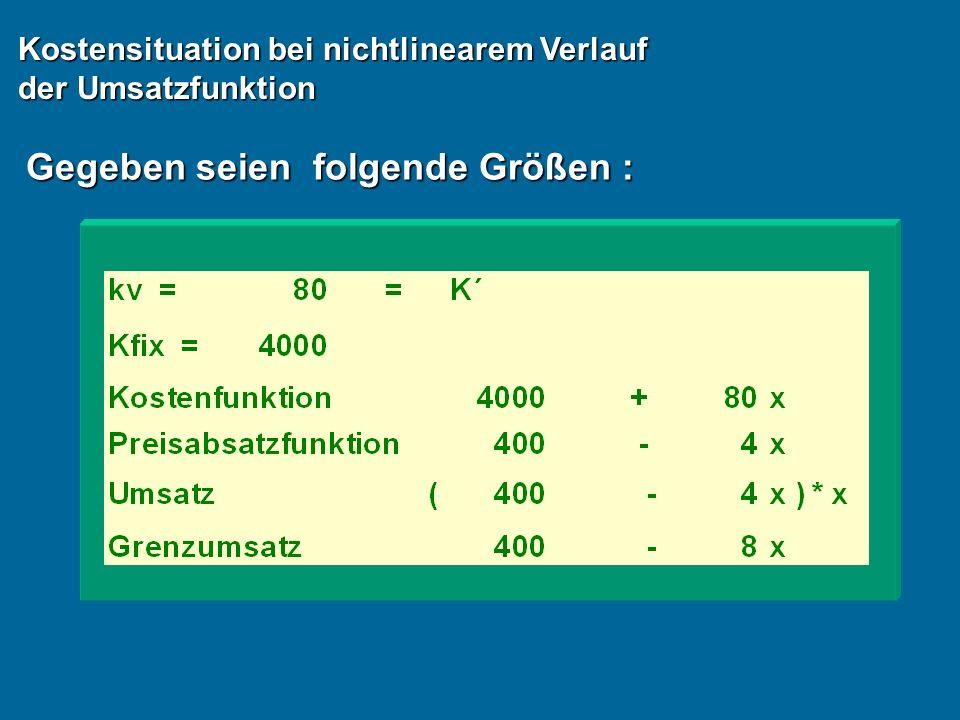 Gegeben seien folgende Größen : Kostensituation bei nichtlinearem Verlauf der Umsatzfunktion