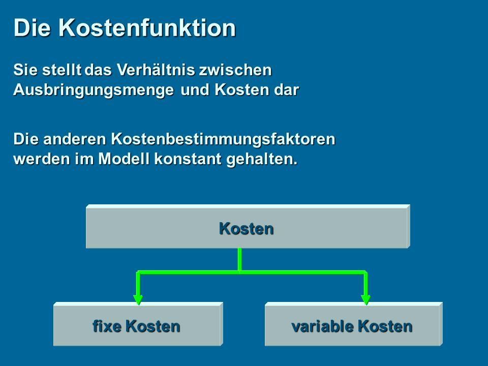 Die Kostenfunktion Sie stellt das Verhältnis zwischen Ausbringungsmenge und Kosten dar Die anderen Kostenbestimmungsfaktoren werden im Modell konstant gehalten.