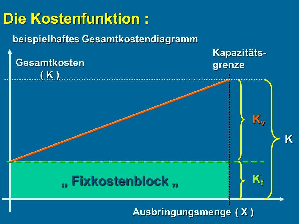 Fixkostenblock Fixkostenblock Die Kostenfunktion : beispielhaftes Gesamtkostendiagramm Gesamtkosten ( K ) Ausbringungsmenge ( X ) KfKfKfKf KvKvKvKv Kapazitäts-grenze K