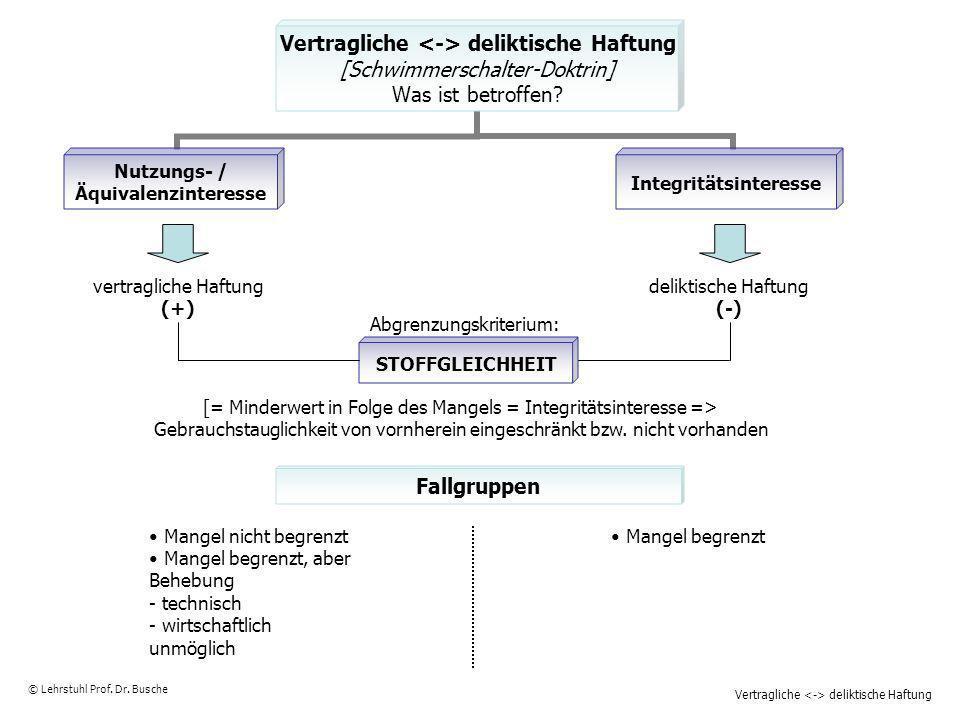 Vertragliche deliktische Haftung © Lehrstuhl Prof. Dr. Busche STOFFGLEICHHEIT Fallgruppen vertragliche Haftung (+) deliktische Haftung (-) Abgrenzungs