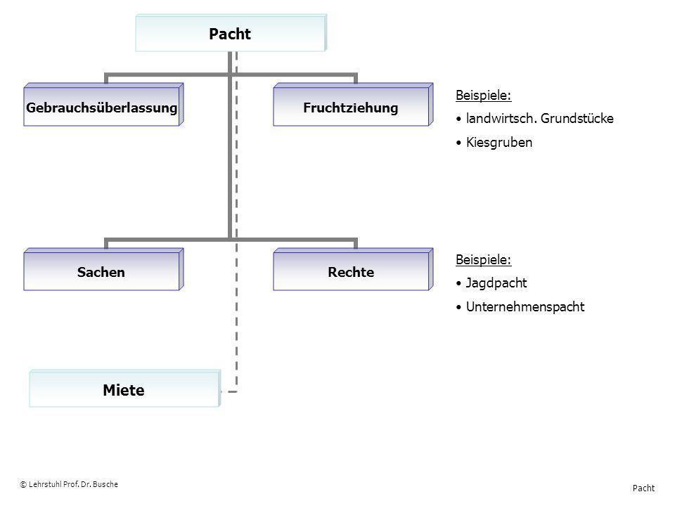 Pacht © Lehrstuhl Prof. Dr. Busche Miete Beispiele: landwirtsch. Grundstücke Kiesgruben Beispiele: Jagdpacht Unternehmenspacht